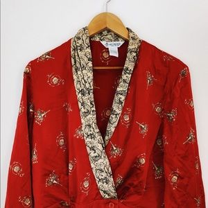 Vintage Austin Reed Red Printed Silk Blouse Size M